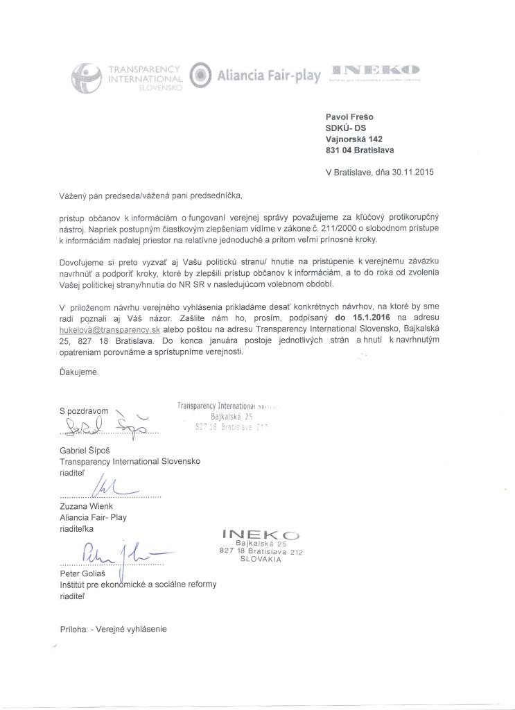 Výzva pre polit. stranu - SDKÚ-DS